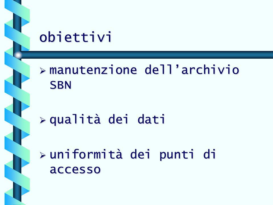 obiettivi manutenzione dellarchivio SBN manutenzione dellarchivio SBN qualità dei dati qualità dei dati uniformità dei punti di accesso uniformità dei