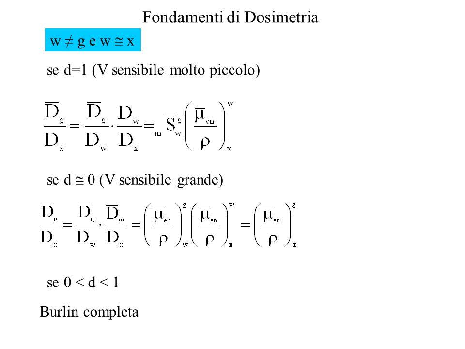 Fondamenti di Dosimetria w g e w x se d=1 (V sensibile molto piccolo) se d 0 (V sensibile grande) se 0 < d < 1 Burlin completa