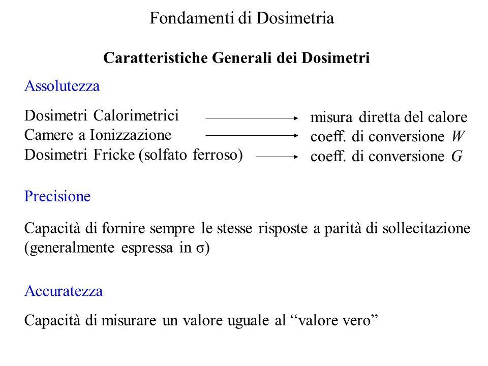 Fondamenti di Dosimetria Caratteristiche Generali dei Dosimetri Dosimetri Calorimetrici Camere a Ionizzazione Dosimetri Fricke (solfato ferroso) misura diretta del calore coeff.