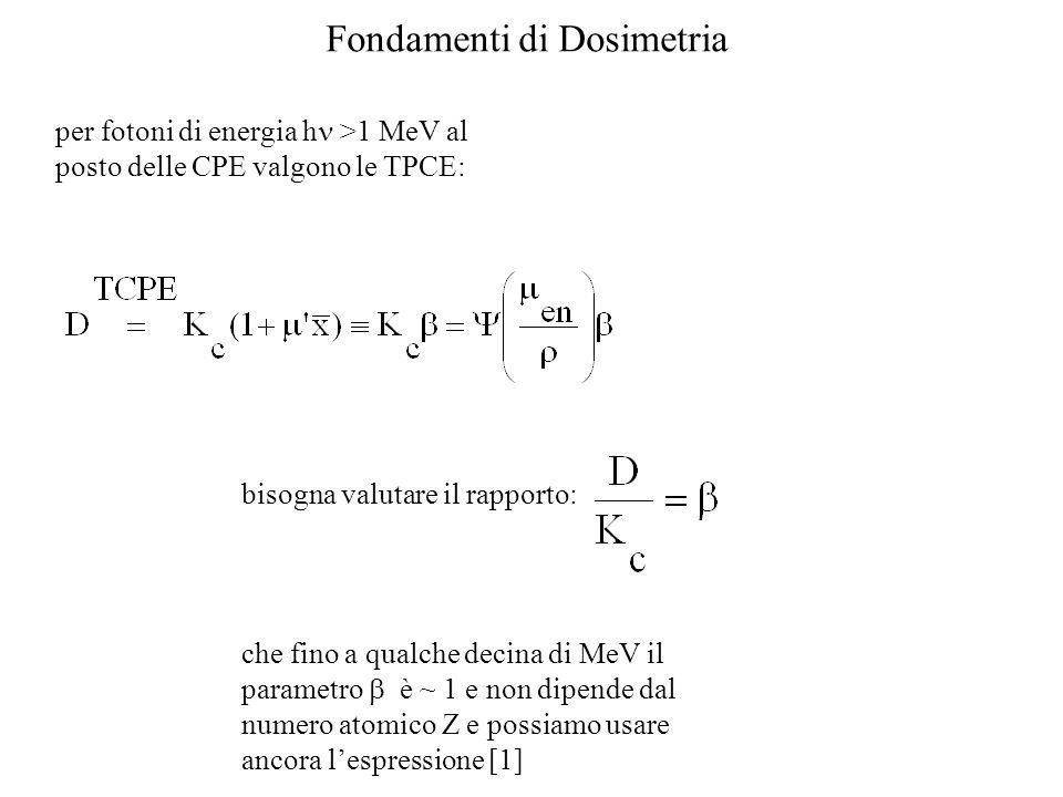 Fondamenti di Dosimetria per fotoni di energia h >1 MeV al posto delle CPE valgono le TPCE: bisogna valutare il rapporto: che fino a qualche decina di MeV il parametro è ~ 1 e non dipende dal numero atomico Z e possiamo usare ancora lespressione [1]