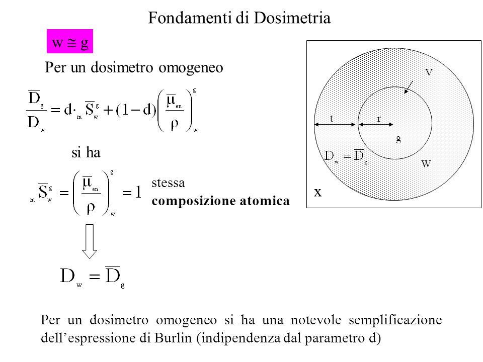 Fondamenti di Dosimetria t r g V W x Per un dosimetro omogeneo si ha Per un dosimetro omogeneo si ha una notevole semplificazione dellespressione di B