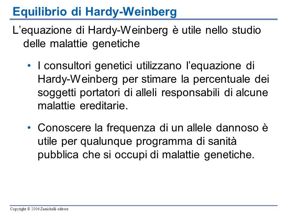 Copyright © 2006 Zanichelli editore Lequazione di Hardy-Weinberg è utile nello studio delle malattie genetiche I consultori genetici utilizzano lequaz