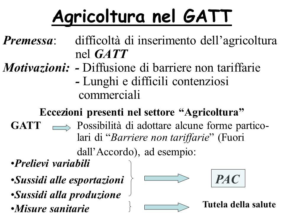 Agricoltura nel GATT Premessa: difficoltà di inserimento dellagricoltura nel GATT Motivazioni: - Diffusione di barriere non tariffarie - Lunghi e diff