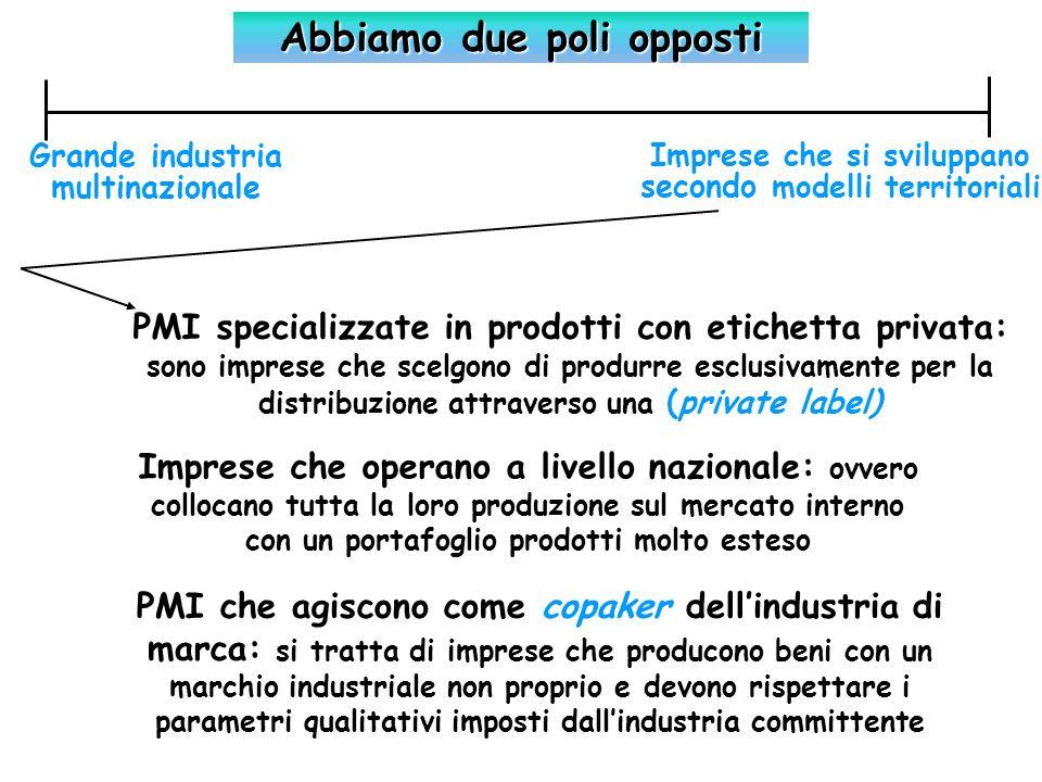 Industria agro-alimentare: i principali aggregati macroeconomici Anno 2003 Produzione totale99.500 (Mil euro) Valore aggiunto26.631 (Mil euro) Contributi produzione991 (Mil euro) Anno 2003 Occupati totali491,2 (UL 000) Di cui dipendenti442,7 (UL 000) Il settore dellindustria alimentare e bevande, in base al Censimento ISTAT 2001, annovera circa 67.000 imprese, con un aumento dell8,1% rispetto al 1991 Permangono forti squilibri di diffusione territoriale: nel Centro- nord si concentrano rispettivamente il 73% degli occupati e il 75% del valore aggiunto ai prezzi di base dellindustria alimentare italiana.