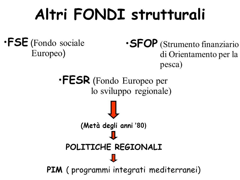 Altri FONDI strutturali SFOP (Strumento finanziario di Orientamento per la pesca) FESR ( Fondo Europeo per lo sviluppo regionale) FSE ( Fondo sociale