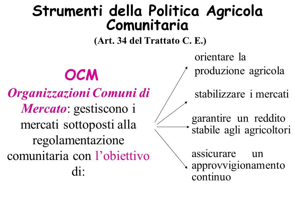 Strumenti della Politica Agricola Comunitaria (Art. 34 del Trattato C. E.) OCM Organizzazioni Comuni di Mercato: gestiscono i mercati sottoposti alla