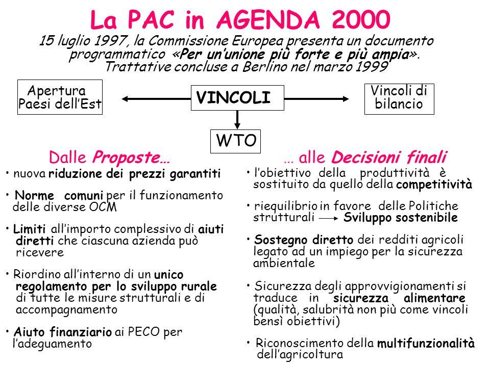 La PAC in AGENDA 2000 15 luglio 1997, la Commissione Europea presenta un documento programmatico «Per ununione più forte e più ampia». Trattative conc