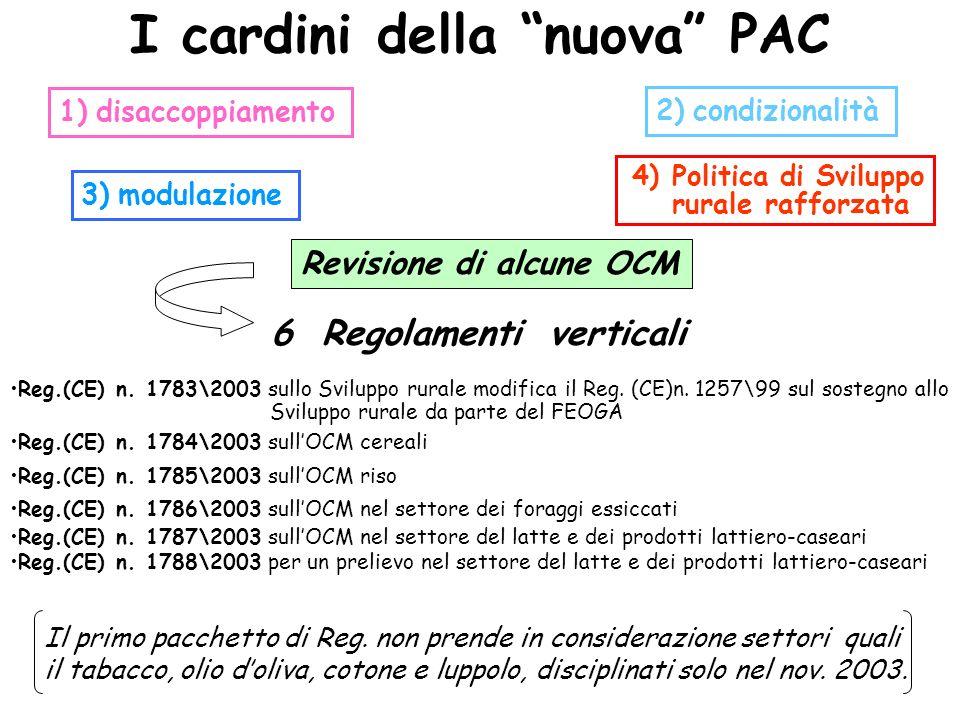 I cardini della nuova PAC 1) disaccoppiamento 3) modulazione 2) condizionalità 4) Politica di Sviluppo rurale rafforzata Revisione di alcune OCM 6 Reg