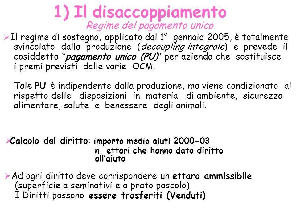 1) Il disaccoppiamento Regime del pagamento unico Il regime di sostegno, applicato dal 1° gennaio 2005, è totalmente svincolato dalla produzione (deco