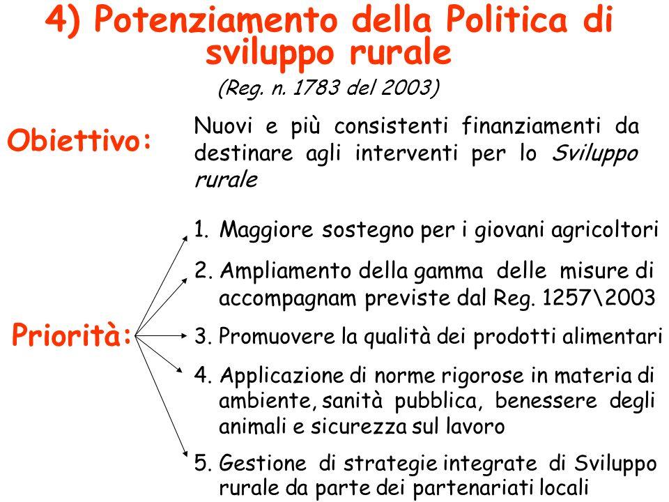 4) Potenziamento della Politica di sviluppo rurale (Reg. n. 1783 del 2003) Obiettivo: Priorità: Nuovi e più consistenti finanziamenti da destinare agl