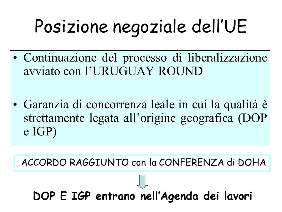 Posizione negoziale dellUE Continuazione del processo di liberalizzazione avviato con lURUGUAY ROUND Garanzia di concorrenza leale in cui la qualità è