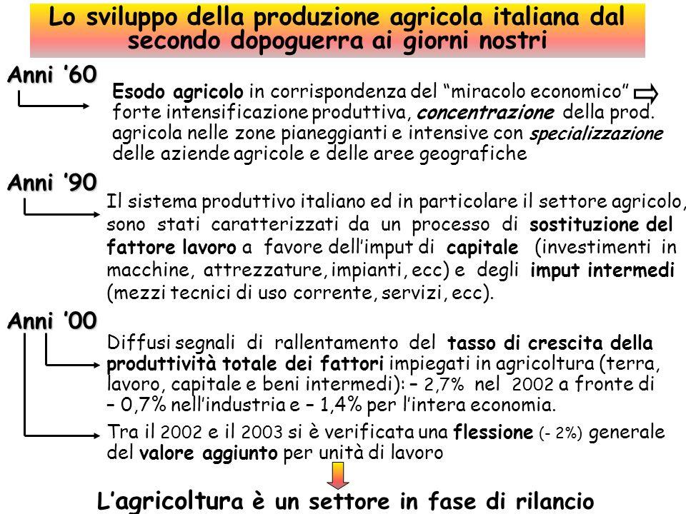 Italia UE 15UE 10UE 25 Superficie Tot (000 ha) 30.13372.988110.172292.105 Coltivazioni agricole sdi cui (%) : 15.484 129.97438.130168.104 Cereali e riso 26,6 28,442,131,5 Barbabietole 1,4 Semi oleosi 3,0 4,54,34,4 Tabacco 0,3 0,1 Patate 0,5 1,03,91,6 Legumi secchi 0,4 1,30,71,2 Ortaggi 2,1 0,71,00,8 Frutta e agrumi 3,3 2,00,11,5 Olivo 7,5 3,60,02,8 Vite 5,8 2,70,42,2 Fiori e piante 0,1 0,0 Foraggere 6,5 4,32,33,9 Pascoli ed altro 42,5 50,043,748,6 Utilizzazione del territorio per principali coltivazioni agricole 2001