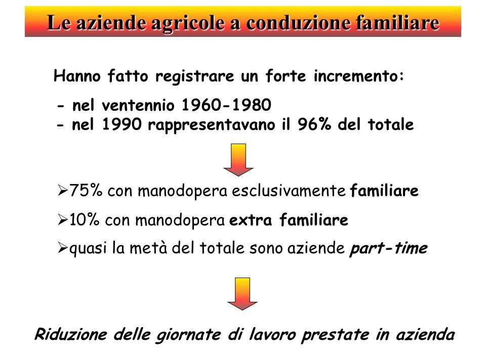 Le aziende agricole a conduzione familiare Hanno fatto registrare un forte incremento: d - nel ventennio 1960-1980 e - nel 1990 rappresentavano il 96%