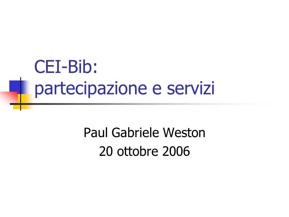 Definizioni s/w CEI-Bib lapplicativo gestionale basato su EOS Web e distribuito alle biblioteche ecclesiastiche che aderiscono al progetto UNBCE della CEI polo ecclesiastico SBN linsieme coordinato delle biblioteche che si avvalgono del s/w CEI-Bib per colloquiare con lIndice SBN allo scopo di condividerne le risorse catalografiche sistema CEI-Bib la comunità delle biblioteche che, avvalendosi o meno del s/w CEI-Bib, individuando obiettivi e scopi condivisi, predispongono ed erogano servizi atti a realizzarli, con il coordinamento dellUNBCE della CEI