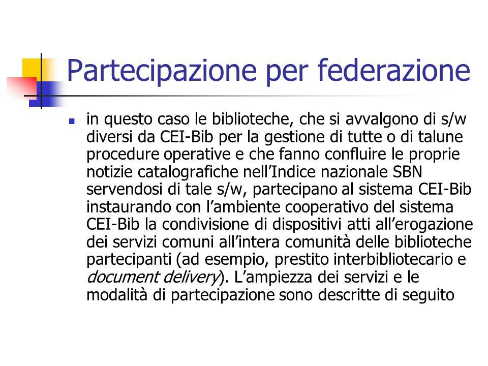 Partecipazione al sistema Dal punto di vista dellambiente cooperativo entrambe le relazioni connotano lappartenenza al sistema CEI-Bib.