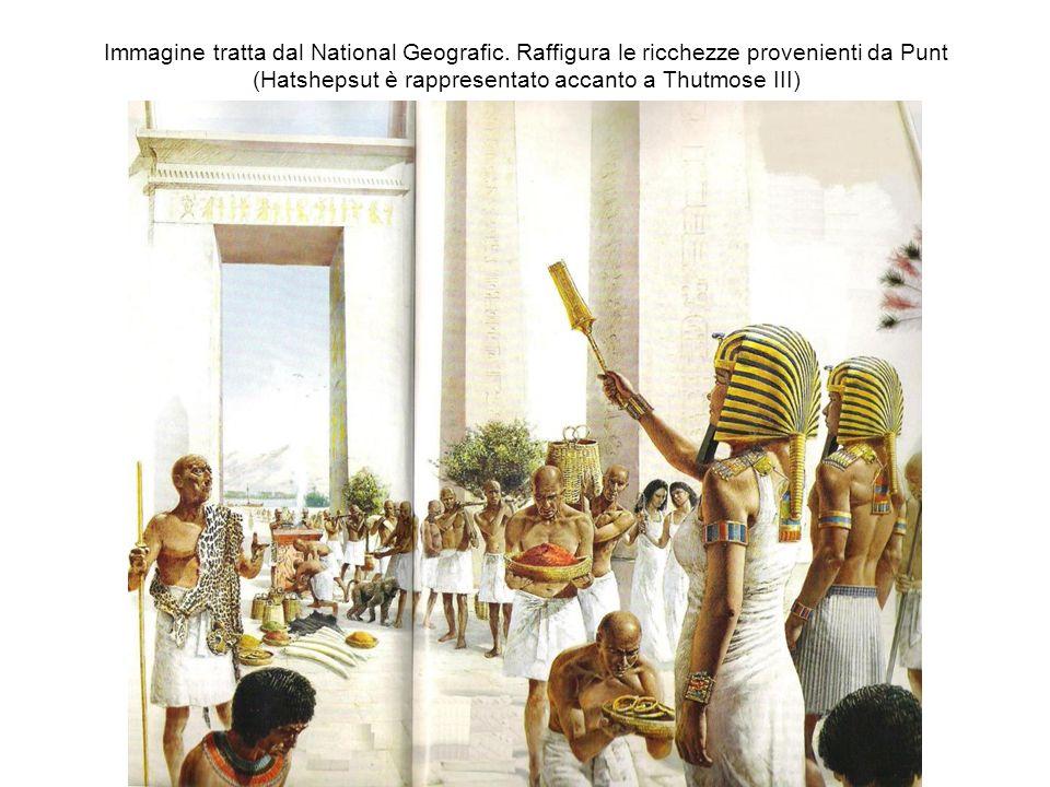 Immagine tratta dal National Geografic. Raffigura le ricchezze provenienti da Punt (Hatshepsut è rappresentato accanto a Thutmose III)