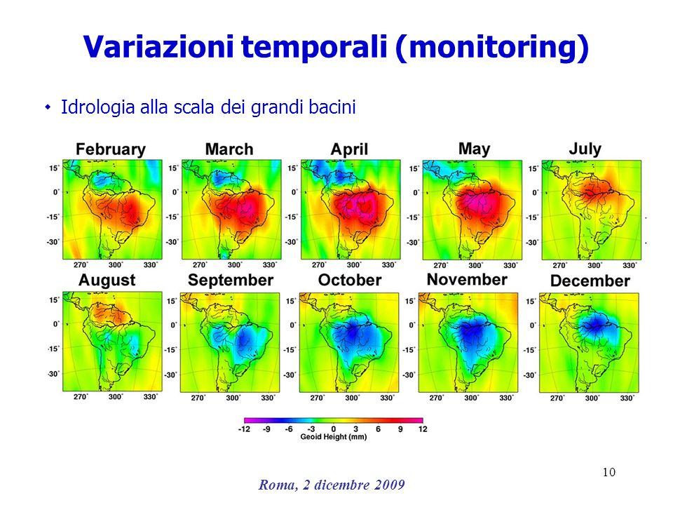 Roma, 2 dicembre 2009 10 Variazioni temporali (monitoring) ۰ Idrologia alla scala dei grandi bacini