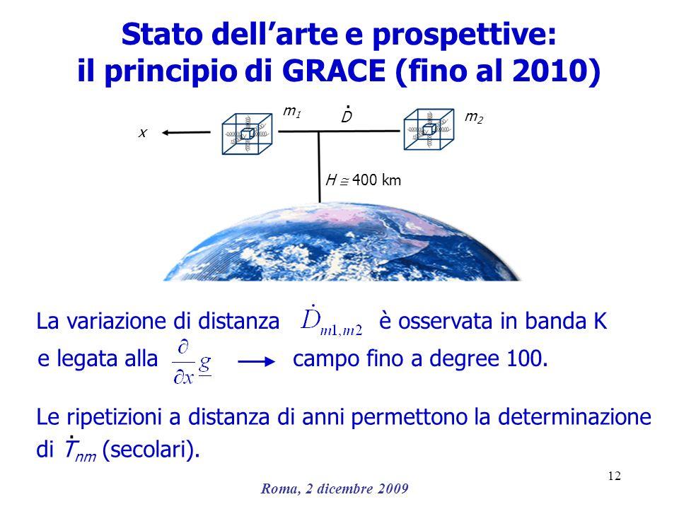 Roma, 2 dicembre 2009 12 Stato dellarte e prospettive: il principio di GRACE (fino al 2010) m1m1 H 400 km La variazione di distanza è osservata in ban