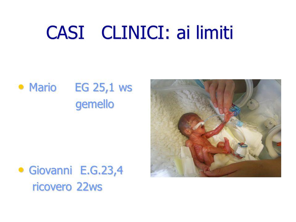 CASI CLINICI: ai limiti CASI CLINICI: ai limiti Mario EG 25,1 ws Mario EG 25,1 ws gemello gemello Giovanni E.G.23,4 Giovanni E.G.23,4 ricovero 22ws ri