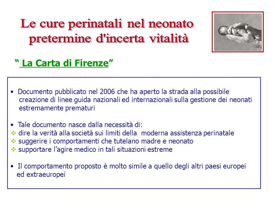 Documento pubblicato nel 2006 che ha aperto la strada alla possibile creazione di linee guida nazionali ed internazionali sulla gestione dei neonati e