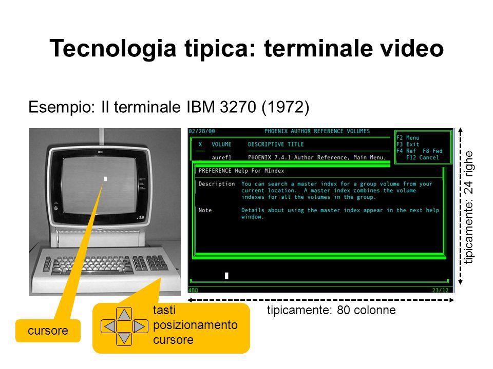 Tecnologia tipica: terminale video video Esempio: Il terminale IBM 3270 (1972) tipicamente: 80 colonne tipicamente: 24 righe cursore tasti posizioname