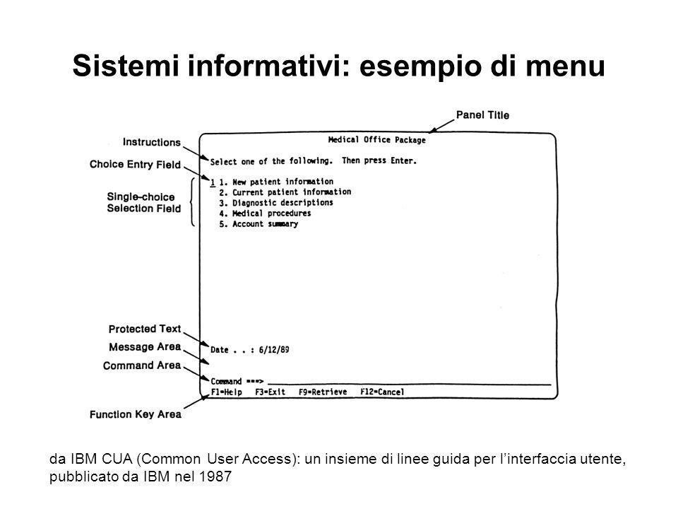 Sistemi informativi: esempio di menu da IBM CUA (Common User Access): un insieme di linee guida per linterfaccia utente, pubblicato da IBM nel 1987