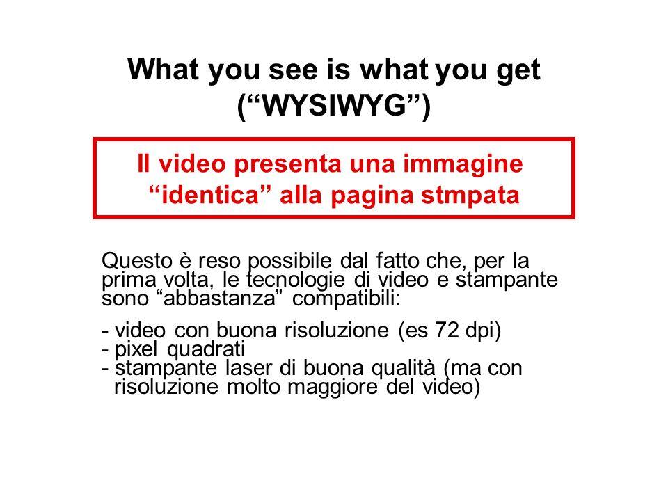 What you see is what you get (WYSIWYG) Il video presenta una immagine identica alla pagina stmpata Questo è reso possibile dal fatto che, per la prima