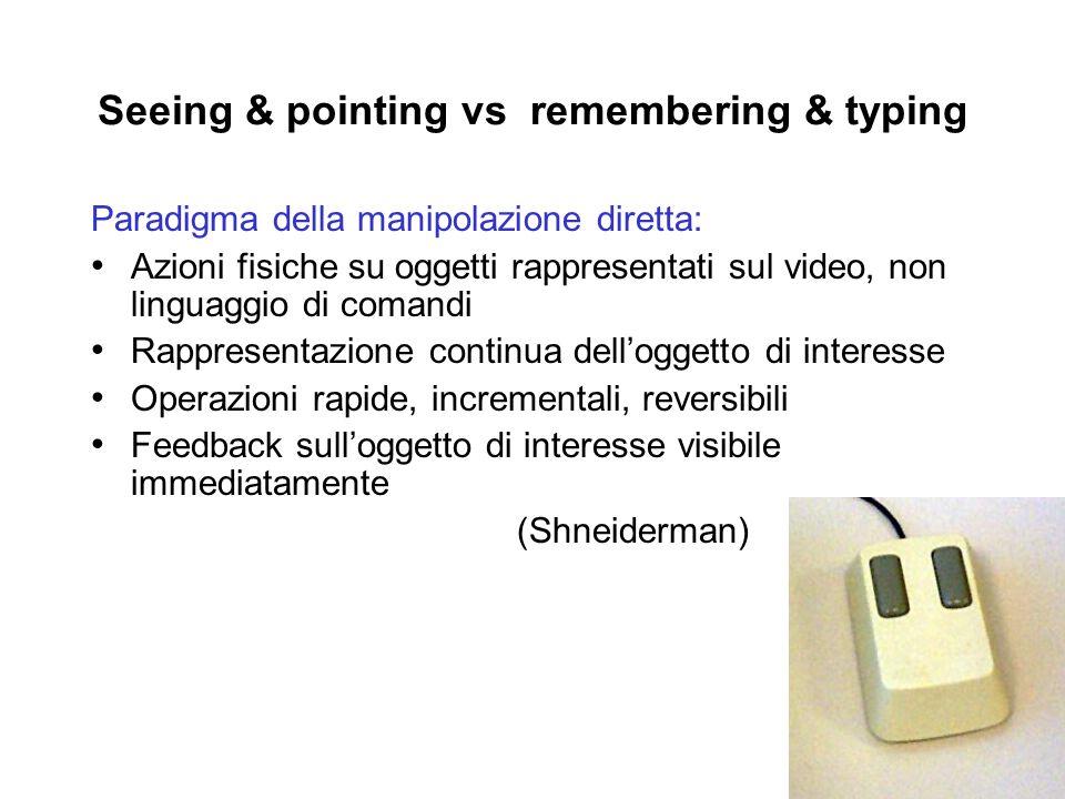 Seeing & pointing vs remembering & typing Paradigma della manipolazione diretta: Azioni fisiche su oggetti rappresentati sul video, non linguaggio di