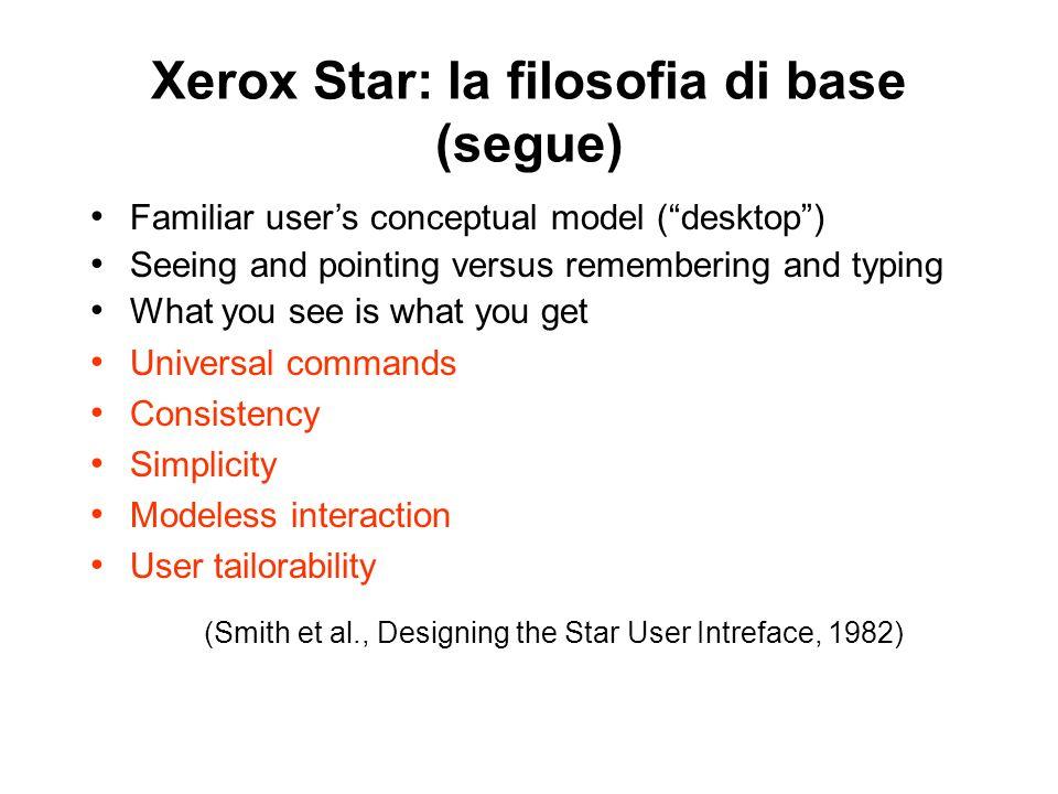Xerox Star: la filosofia di base (segue) Universal commands Consistency Simplicity Modeless interaction User tailorability (Smith et al., Designing th