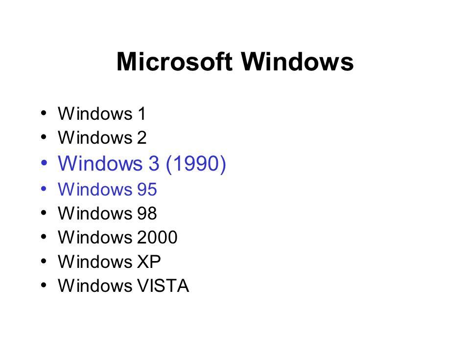 Microsoft Windows Windows 1 Windows 2 Windows 3 (1990) Windows 95 Windows 98 Windows 2000 Windows XP Windows VISTA