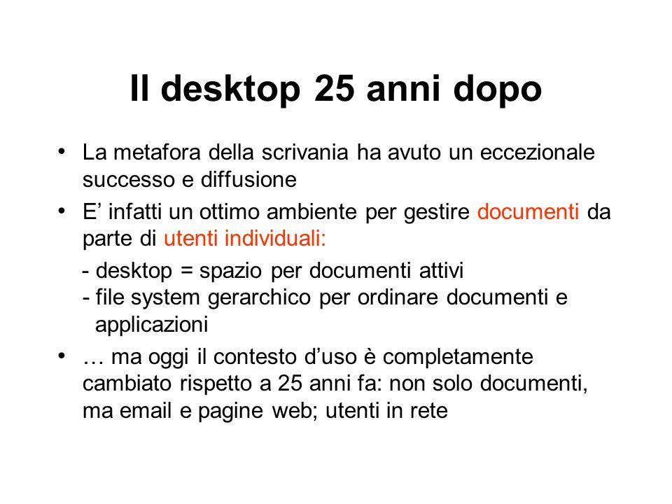 Il desktop 25 anni dopo La metafora della scrivania ha avuto un eccezionale successo e diffusione E infatti un ottimo ambiente per gestire documenti d