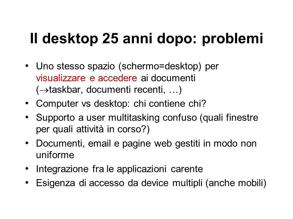 Il desktop 25 anni dopo: problemi Uno stesso spazio (schermo=desktop) per visualizzare e accedere ai documenti ( taskbar, documenti recenti, …) Comput