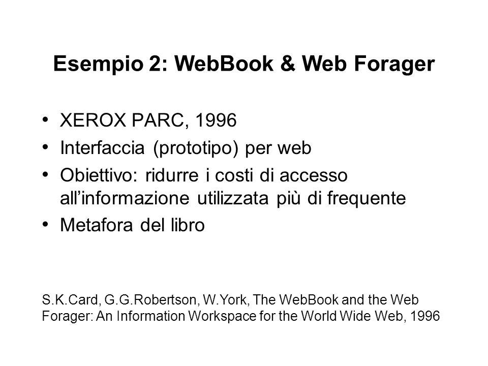 Esempio 2: WebBook & Web Forager XEROX PARC, 1996 Interfaccia (prototipo) per web Obiettivo: ridurre i costi di accesso allinformazione utilizzata più