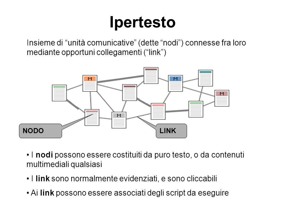 Ipertesto LINK NODO Insieme di unità comunicative (dette nodi) connesse fra loro mediante opportuni collegamenti (link) I nodi possono essere costitui