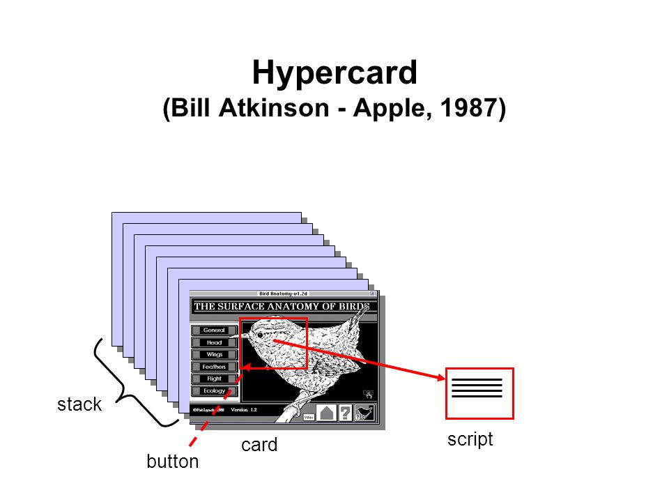 Hypercard (Bill Atkinson - Apple, 1987) stack card script button
