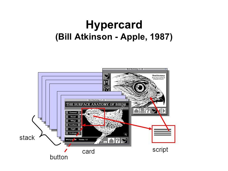 stack card script button Hypercard (Bill Atkinson - Apple, 1987)