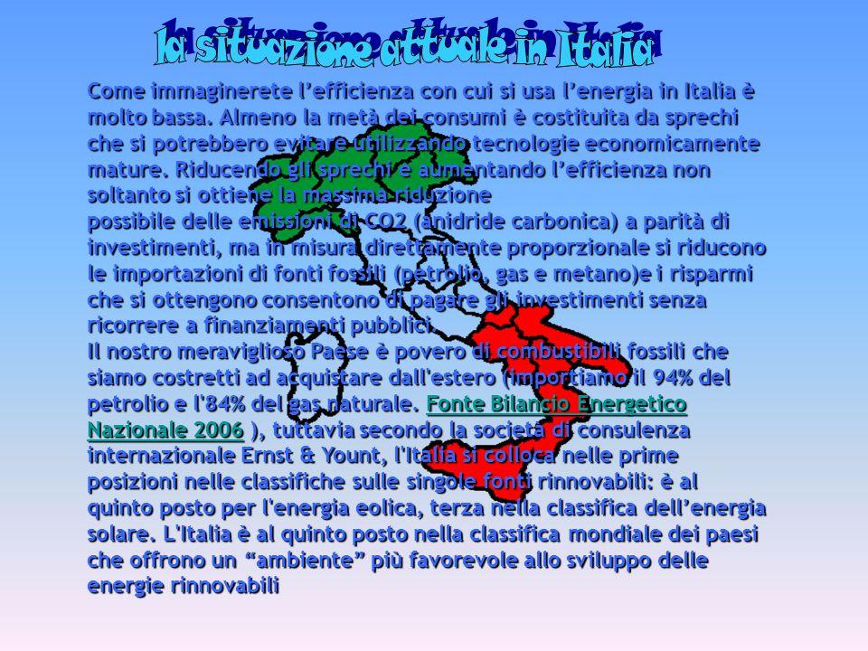 Come immaginerete lefficienza con cui si usa lenergia in Italia è molto bassa. Almeno la metà dei consumi è costituita da sprechi che si potrebbero ev