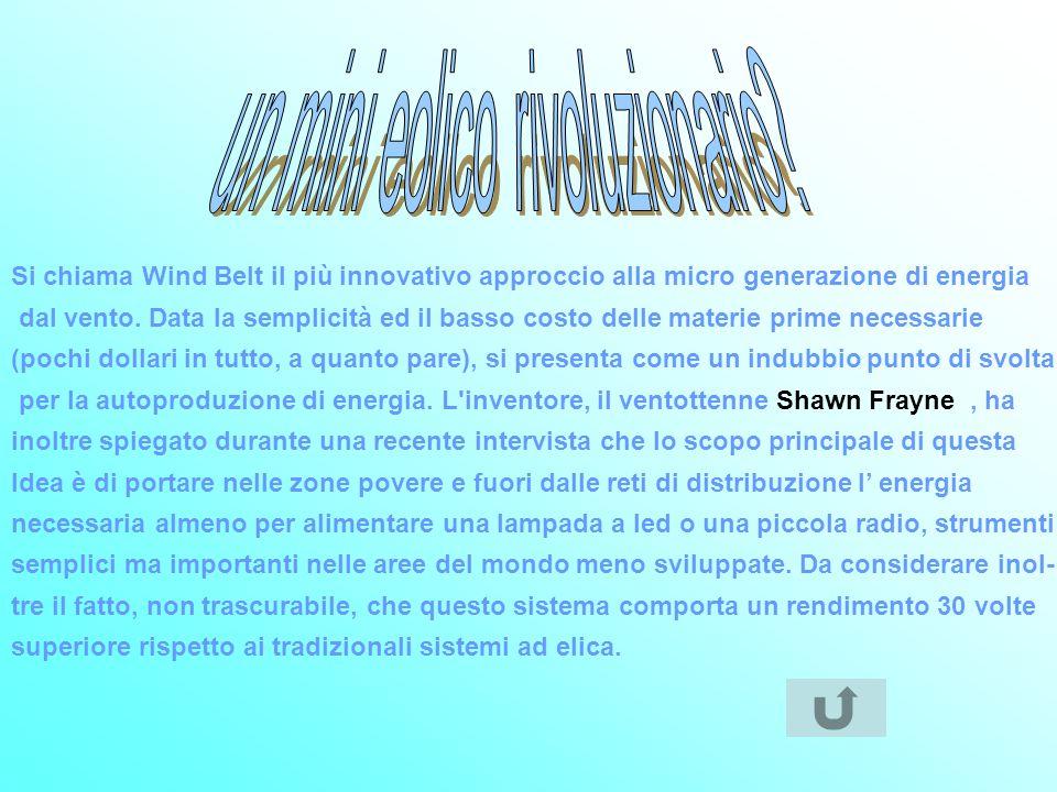 Si chiama Wind Belt il più innovativo approccio alla micro generazione di energia dal vento. Data la semplicità ed il basso costo delle materie prime