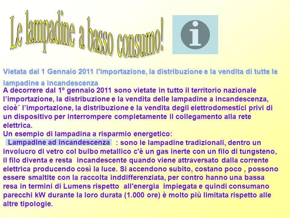 Vietata dal 1 Gennaio 2011 l'importazione, la distribuzione e la vendita di tutte le lampadine a incandescenza A decorrere dal 1º gennaio 2011 sono vi