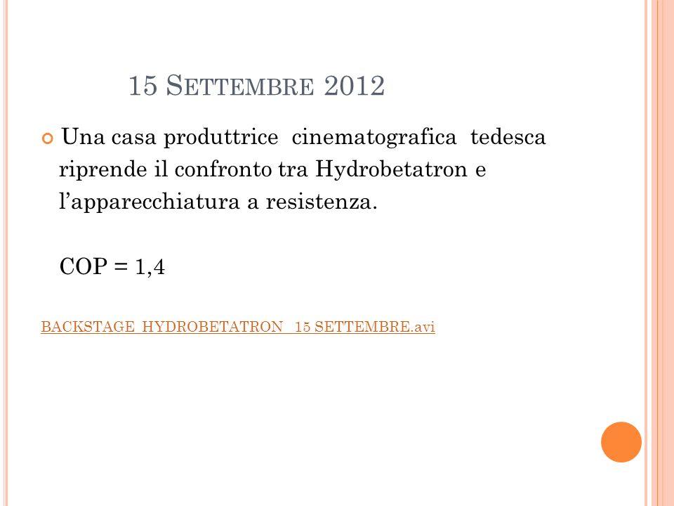 15 S ETTEMBRE 2012 Una casa produttrice cinematografica tedesca riprende il confronto tra Hydrobetatron e lapparecchiatura a resistenza. COP = 1,4 BAC