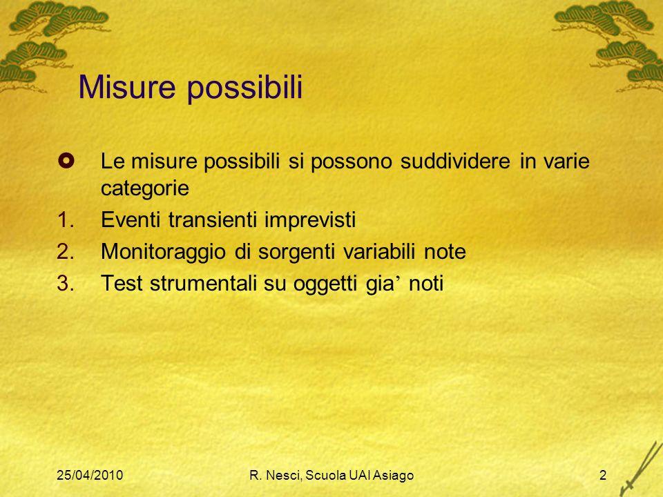 25/04/2010R. Nesci, Scuola UAI Asiago2 Misure possibili Le misure possibili si possono suddividere in varie categorie 1.Eventi transienti imprevisti 2