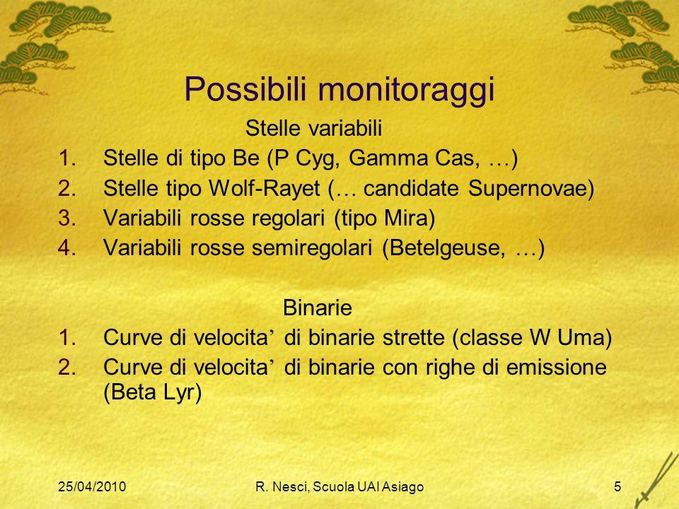 25/04/2010R. Nesci, Scuola UAI Asiago5 Possibili monitoraggi Stelle variabili 1.Stelle di tipo Be (P Cyg, Gamma Cas, … ) 2.Stelle tipo Wolf-Rayet ( …