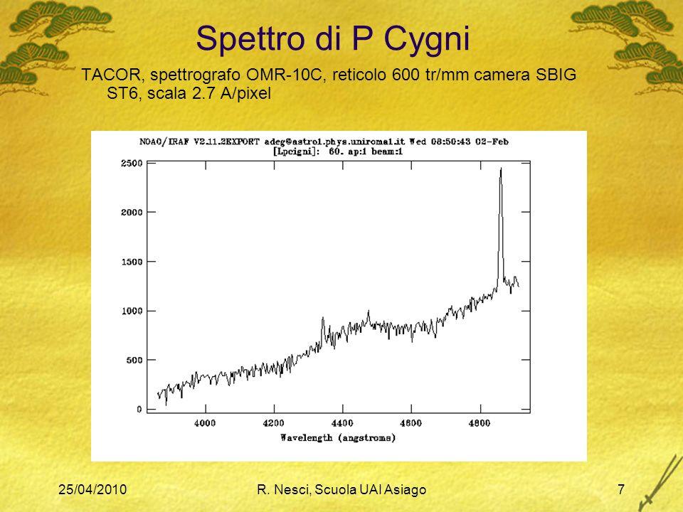 25/04/2010R. Nesci, Scuola UAI Asiago7 Spettro di P Cygni TACOR, spettrografo OMR-10C, reticolo 600 tr/mm camera SBIG ST6, scala 2.7 A/pixel