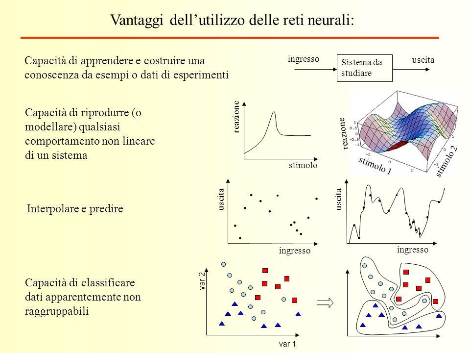 Vantaggi dellutilizzo delle reti neurali: Capacità di riprodurre (o modellare) qualsiasi comportamento non lineare di un sistema Capacità di apprender