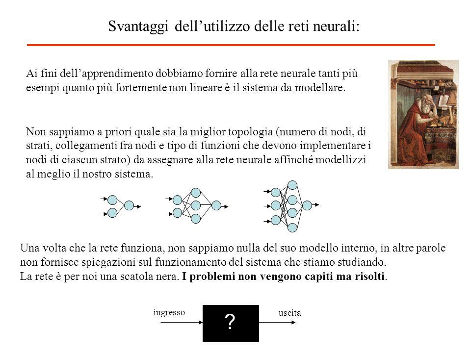 Ai fini dellapprendimento dobbiamo fornire alla rete neurale tanti più esempi quanto più fortemente non lineare è il sistema da modellare. Non sappiam
