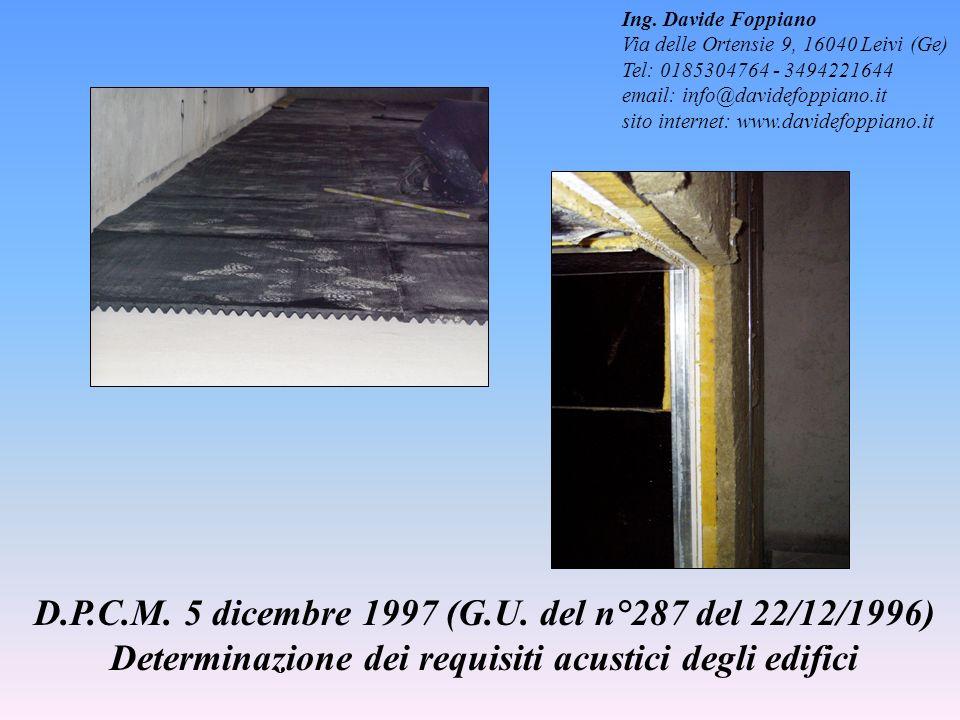 D.P.C.M. 5 dicembre 1997 (G.U. del n°287 del 22/12/1996) Determinazione dei requisiti acustici degli edifici Ing. Davide Foppiano Via delle Ortensie 9