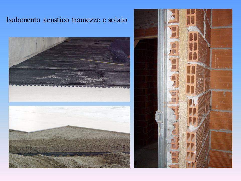MISURA DELLINDICE DI VALUTAZIONE DELLISOLAMENTO ACUSTICO DI FACCIATA normativa di riferimento UNI EN ISO 140-5-2000 D 2m,nT,w = L 1,2m – L 2 + 10log(T/T 0 )(dB) L 1,2m = livello di pressione sonora allesterno a 2m dalla facciata prodotto da autoparlante con incidenza del suono a 45° sulla facciata (dB) L 2 = livello di pressione sonora medio misurato nellambiente ricevente (dB) Posizione della sorgente sonora e dei punti di misura