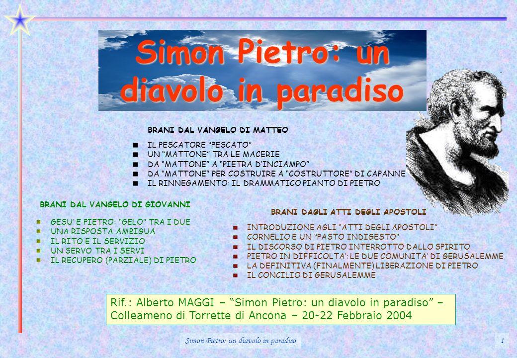 Simon Pietro: un diavolo in paradiso 1 Rif.: Alberto MAGGI – Simon Pietro: un diavolo in paradiso – Colleameno di Torrette di Ancona – 20-22 Febbraio