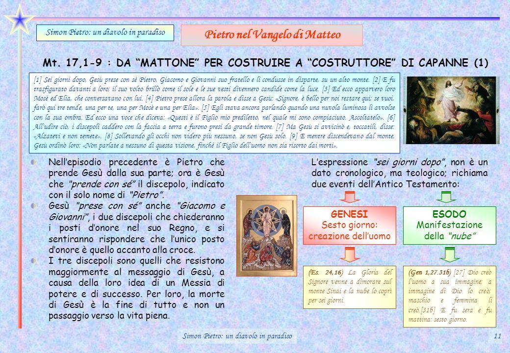 Mt. 17,1-9 : DA MATTONE PER COSTRUIRE A COSTRUTTORE DI CAPANNE (1) Simon Pietro: un diavolo in paradiso Pietro nel Vangelo di Matteo Nellepisodio prec