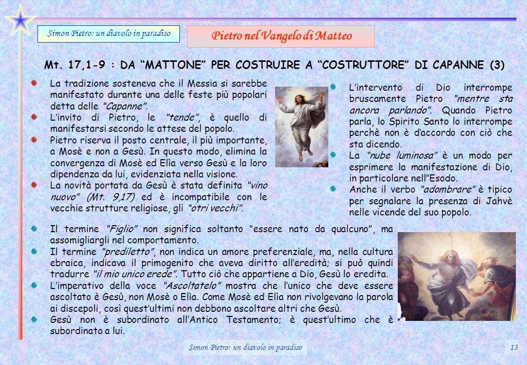 Mt. 17,1-9 : DA MATTONE PER COSTRUIRE A COSTRUTTORE DI CAPANNE (3) Simon Pietro: un diavolo in paradiso Pietro nel Vangelo di Matteo La tradizione sos